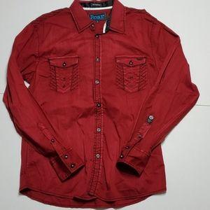 Roar Signature L Red long-sleeve button down shirt